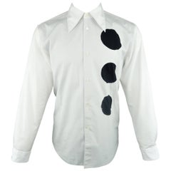 Men's COMME des GARCONS Size M White Cotton Black Circle Cutout Shirt