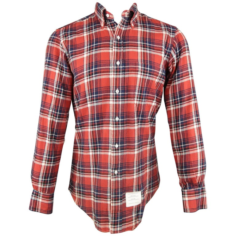 Men's THOM BROWNE Size M Red Plaid Cotton Long Sleeve Button Down Shirt