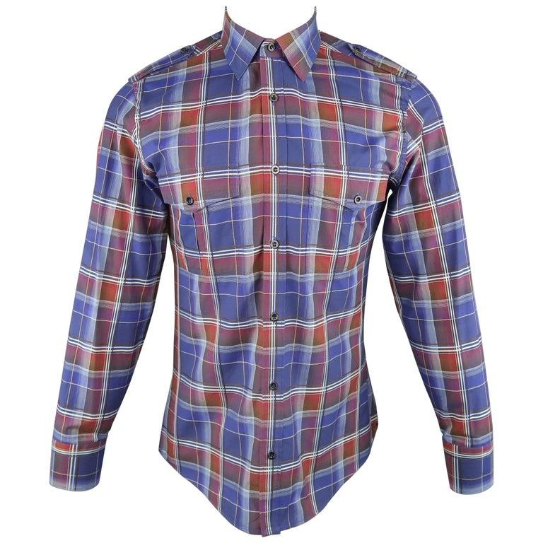 Men's GUCCI Size M Navy & Burgundy Plaid Cotton Long Sleeve Military Shirt