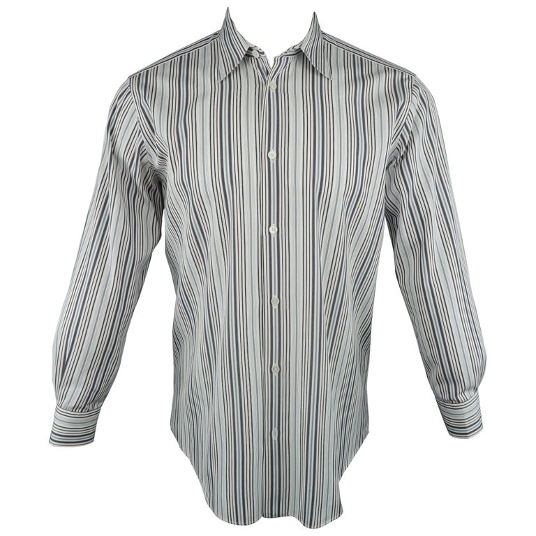 Men's HERMES Size M White Red & Grey Stripe Cotton Long Sleeve Shirt
