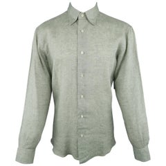Men's  BRIONI Size M Sage Green Textured Linen Long Sleeve Shirt