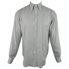 Men's LORO PIANA Size M Grey & White Striped Cotton Long Sleeve Oxford Shirt
