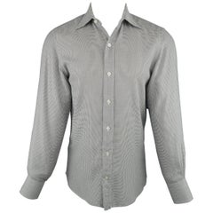 Men's TOM FORD Size M Grey Houndstooth Cotton Long Sleeve Shirt