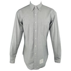 Men's THOM BROWNE Size M Light Grey Cotton Oxford Button Down Shirt