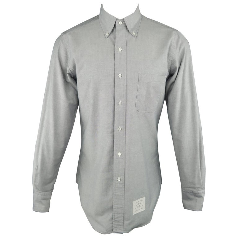 62174edb Men's THOM BROWNE Size M Light Grey Cotton Oxford Button Down Shirt For Sale