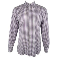 Men's TOM FORD Size L Purple & White Gingham Plaid Cotton Long Sleeve Shirt