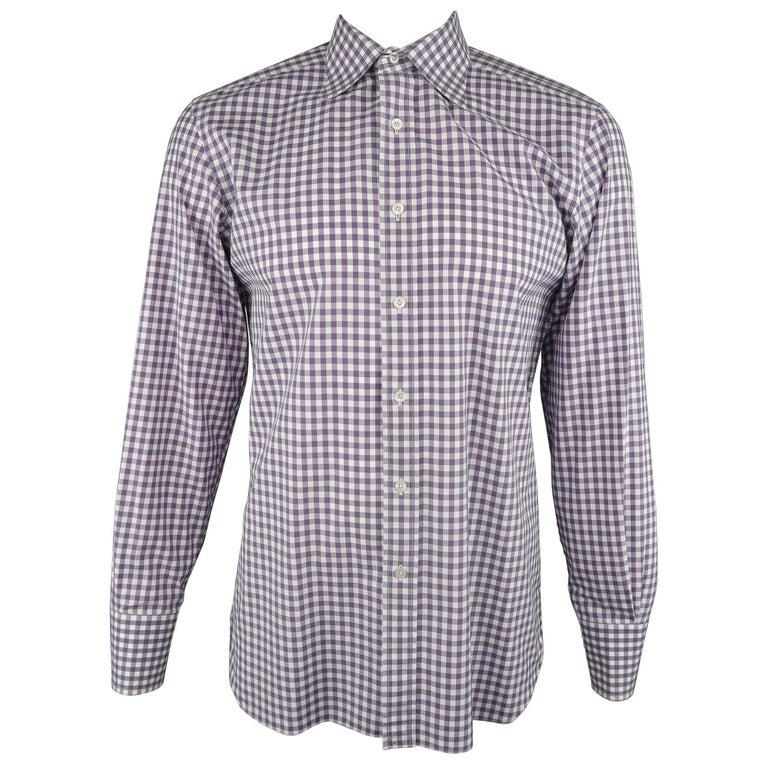 Men's TOM FORD Size L Purple & White Gingham Plaid Cotton Long Sleeve Shirt