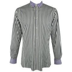 Men's BOTTEGA VENETA Size L Black & White Stripe Purple Collar Cotton Shirt