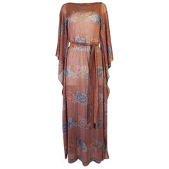 Missoni Floral Print Metallic Lurex Caftan Dress, circa 1972-73