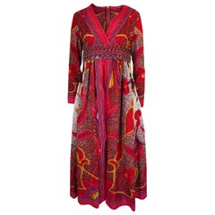 1960s Malcolm Starr Batik Print Dress w Heavily Beaded Belt