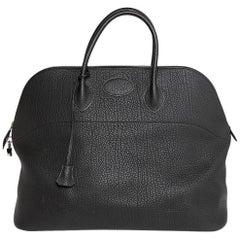 Bolide Hermes Black Fjord Leather GM Travel Bag With Handle