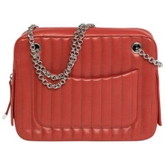 Chanel Geranium Red Lambskin Two Chain Handles Shopping Bag With Side Pockets