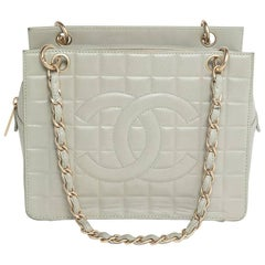 Chanel Grey Leather Pst Icecube With Light Gold Mat Hardware