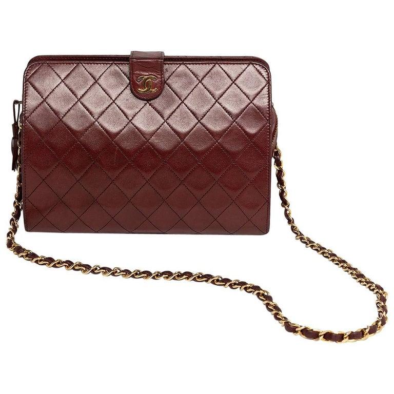 Chanel Burgundy Quilted Lambskin 1988 Vintage Shoulder Bag