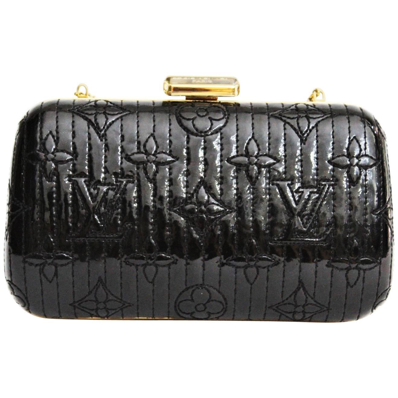 LOUIS VUITTON Limited Edition Black Vernis Monogram Minaudiere Motard Clutch Bag
