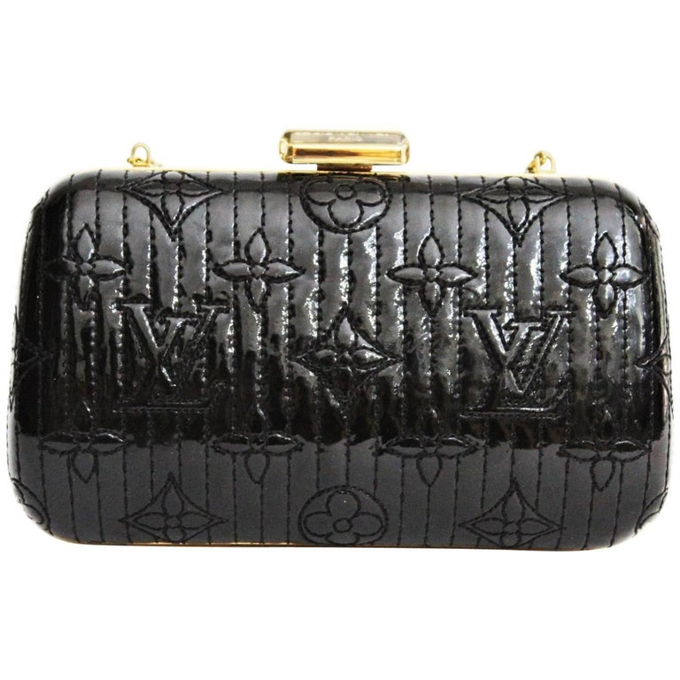 b8e030efee40 LOUIS VUITTON Limited Edition Black Vernis Monogram Minaudiere Motard Clutch  Bag For Sale