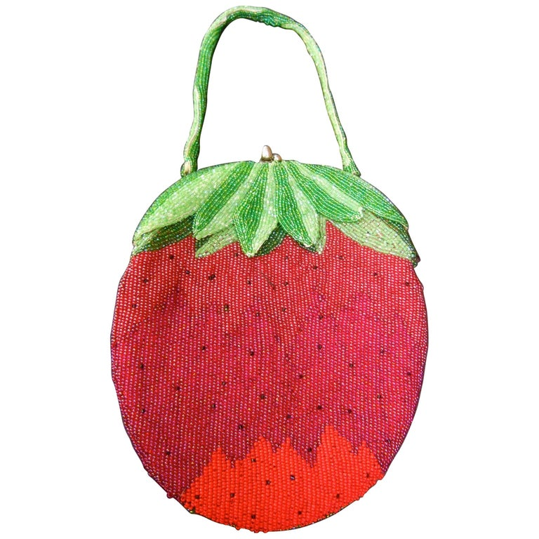 Whimsical Glass Beaded Strawberry Evening Bag circa 1970s For Sale