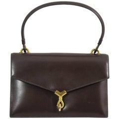 "60's Vintage Hermes Bag ""Cordeliere"" in Brown Box Leather"