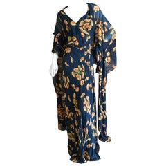 Cardinali Silk Chiffon Floral Poppy Print Evening Dress with Unusual Cape Back