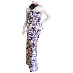 Cardinali Silk Floral Violette Evening Dress with Flower Necklace Details, 1973