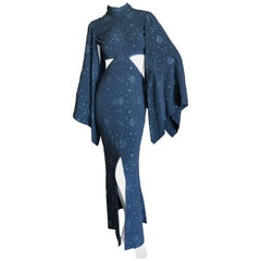 Cardinali 1970's Seductive Glittering Cut Out Evening Dress with Kimono Sleeves