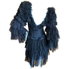 Cardinali Dramatic Black Ruffled Poet Sleeve Silk Cocktail Dress
