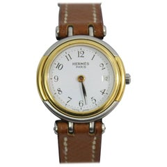 Gold and Steel Hermes Windsor Watch