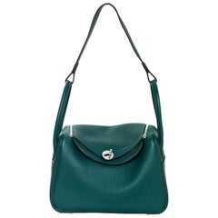 Hermes Malachite Green Taurillon Clemence Leather 26cm Lindy Bag w. Receipt
