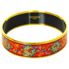 Hermes Red & Blue Wide Enamel Bangle Bracelet  Sz 70