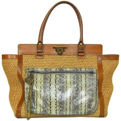 Lanvin Tan Woven Tote Bag with Detachable Snakeskin Pouch rt. $2,190