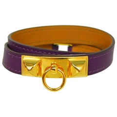 Hermès Purple and Goldtone Rivale Double Tour Wrap Bracelet Sz M NIB