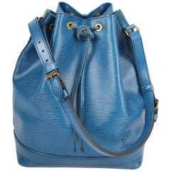 Louis Vuitton Epi Leather Noe Drawstring Shoulder Bag - blue