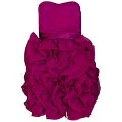 Marchesa Notte Plum Silk Ruffle Dress Sz 4
