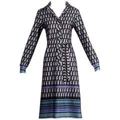 1970s Lanvin Vintage Purple, Blue, Black Striped Paisley Print Shirt Dress