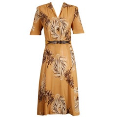 1940s Terry Rogers Vintage Mustard Yellow + Brown Print Day Dress + Leather Belt