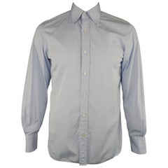 Men's TOM FORD Size M Light Blue Solid Cotton Long Sleeve Shirt