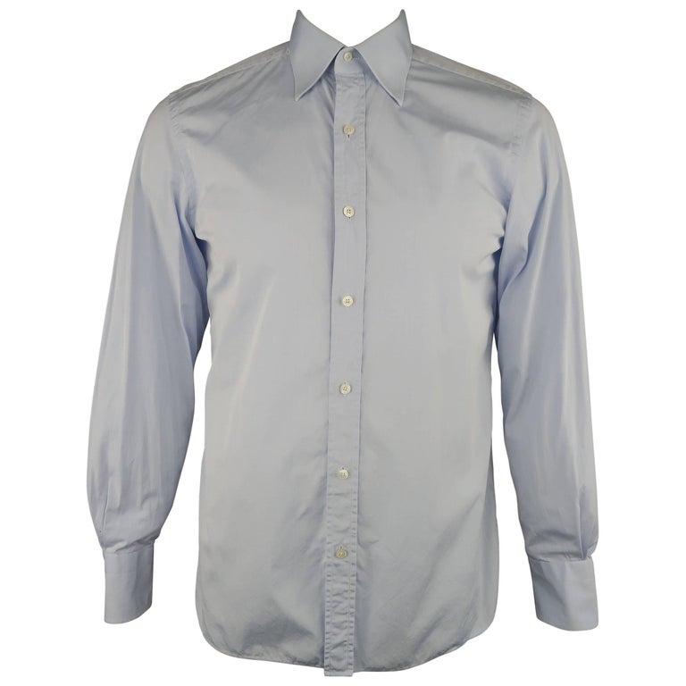 87e49a4e1b9 Men s TOM FORD Size M Light Blue Solid Cotton Long Sleeve Shirt For Sale