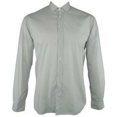Men's LANVIN Size L Light Gray Cotton Ribbon Collar Long Sleeve Shirt