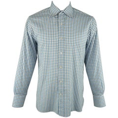 Men's TOM FORD Size XL Blue & White Gingham Plaid  Linen Long Sleeve Shirt
