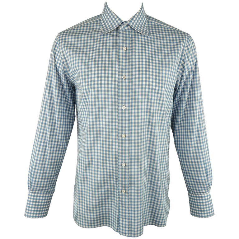 Men's TOM FORD Size XL Blue & White Gingham Plaid  Linen Long Sleeve Shirt