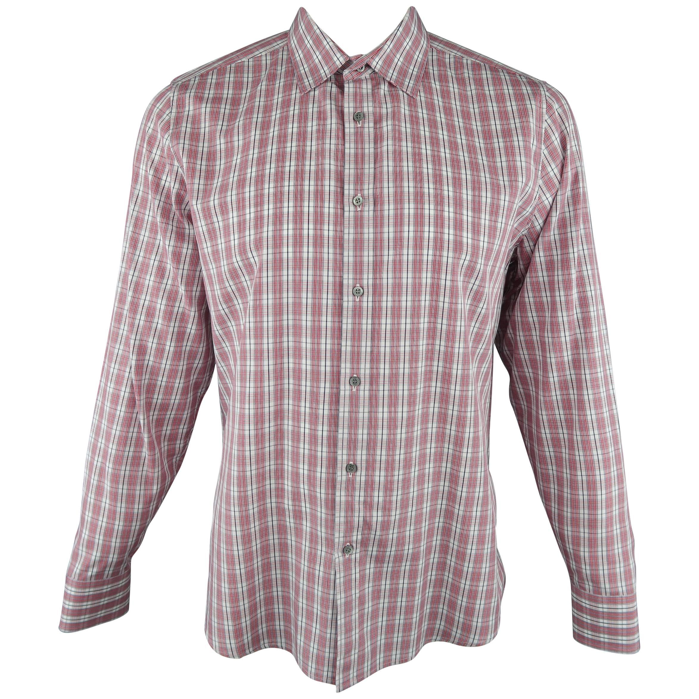 238cc8d68 Men's GUCCI Size XL Red and White Plaid Cotton Long Sleeve Slim Dress Shirt  For Sale at 1stdibs