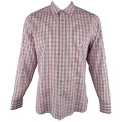 Men's GUCCI Size XL Red & White Plaid Cotton Long Sleeve Slim Dress Shirt