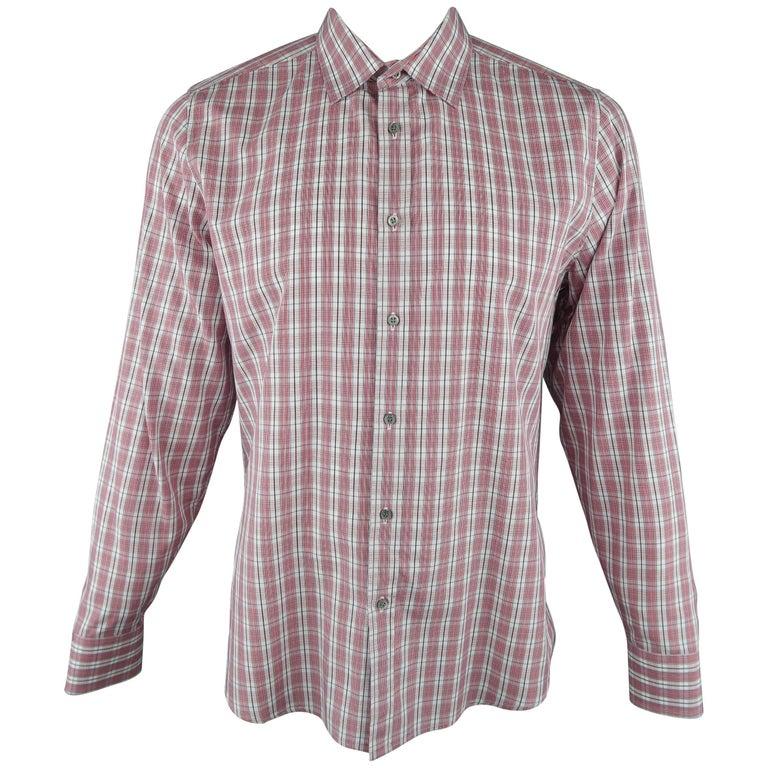 0ea40403f Men's GUCCI Size XL Red & White Plaid Cotton Long Sleeve Slim Dress Shirt  ...