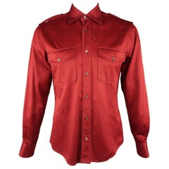 Men's GUCCI Size L Cotton Burgundy Red Spread Collar Military Shirt
