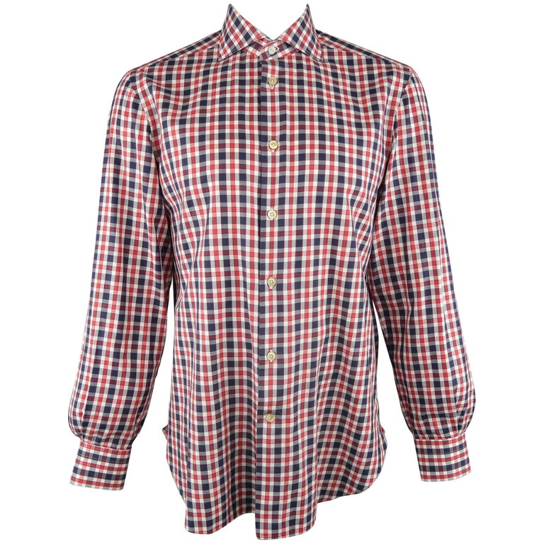 Men's KITON Size L Navy & Red Checkered Plaid Cotton Long Sleeve Shirt