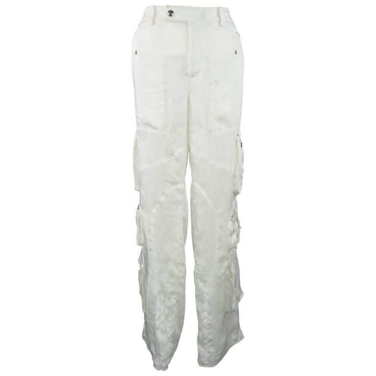 RALPH LAUREN Size 8 White Sheer Satin Cargo Moto Pants For Sale
