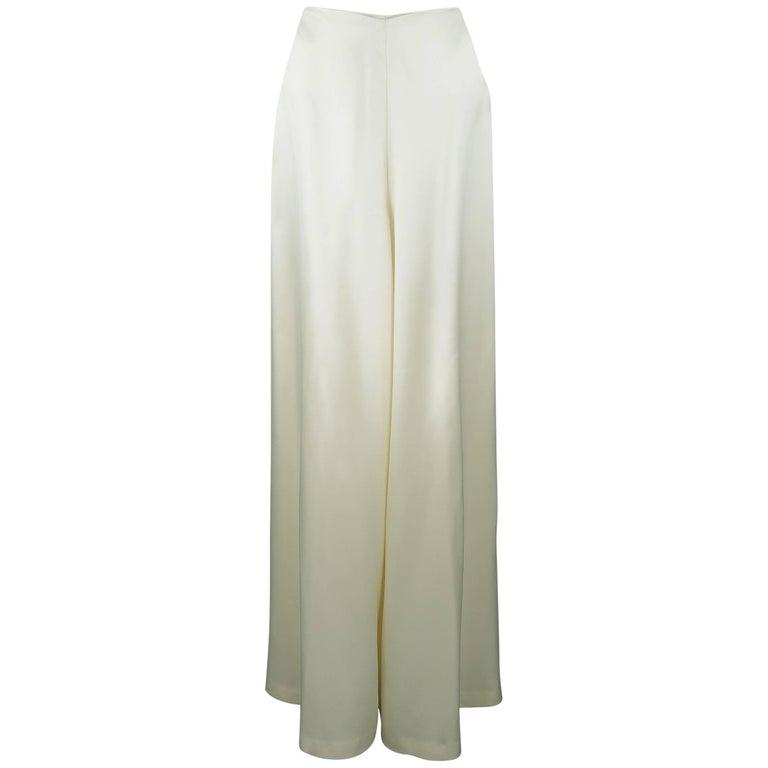 RALPH LAUREN Size 8 Beige Cream Rayon / Silk Satin Wide Leg Dress Pants For Sale