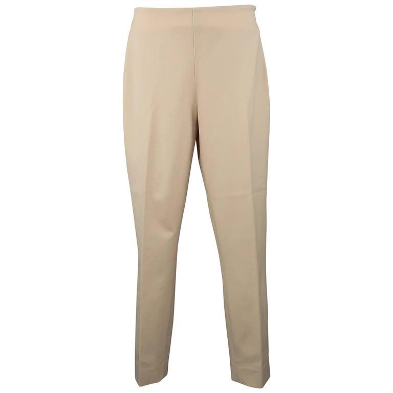 RALPH LAUREN Size 6 Tan Stretch Wool Skinny Dress Pants For Sale