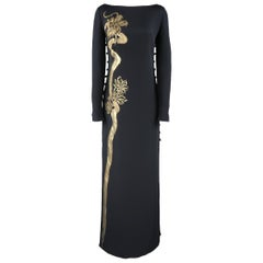 Emilio Pucci Gown - Black Silk Gold Painted Dragon Column Dress