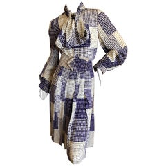 Cardinali 1970's Check Pattern Silk Day Dress with Pussy Bow